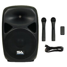 "Seismic Audio Powered 12"" PA Speaker  Rechargeable with 2 Mics Remote Bluetooth"