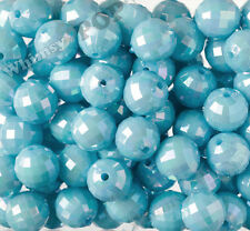 20mm - 10 PACK of Light Blue Faceted AB Bubblegum Beads, 20mm Chunky, Disco