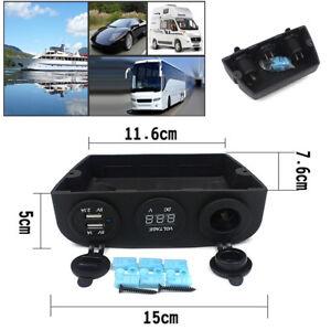 Dual USB Sockets Voltmeter Car Cigarette Lighter Socket Charger Power Adapter