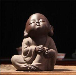 Cute Little Monk Figurine Buddha Statue Tea Pets Oriental Culture Ornaments Clay