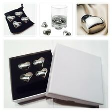 4x Whiskey Whisky Stones Heart Stainless Steel Ice Cube Wine Chiller Cooler Box