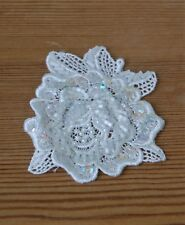 Beaded Applique Rose Flower Swatch, Beaded Patch, SewOn Patch (D3E)