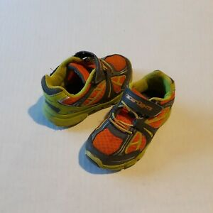 STRIDE RITE RACER LIGHTS BOLT 8.5 M Boys' Green Orange Shoes Play Condition