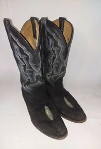 El Presidente Gold Collection 26 Mens Black Stingray Cowboy Boots Size 8