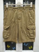 Men's H&M Divided khaki brown mid-length heavy cotton cargo shorts - size 36W