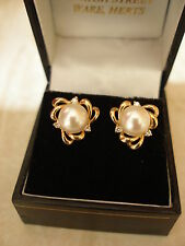 PAIR OF 9 CARAT GOLD CULTURED PEARL & DIAMOND STUD EARRINGS MADE IN UK BRAND NEW