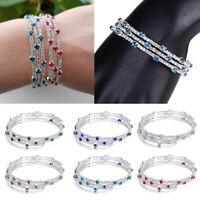 Multi-layer Rhinestone Crystal Bracelet Wristband DIY Wedding Jewelry Gift