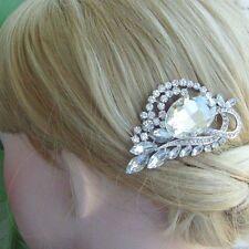 Sparkling Clear Rhinestone Crystal Flower Hair Comb Wedding Headpiece 04998C1