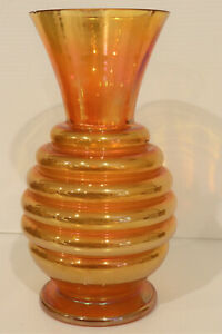 Vintage Art Deco - Carnival Glass Marigold Vase - Tall Beehive Form / Free Post