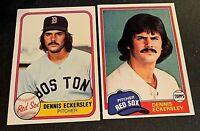 Dennis Eckersley 1981 Topps #620 and 1981 Fleer # 226 - Red Sox