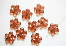 10 Acrylic Flower Beads - Medium Brown - 20mm