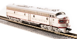 3617 N-SCALE Broadway Limited EMD E9 A-unit, CB&Q #9985-A, Stainless Steel w/ Re