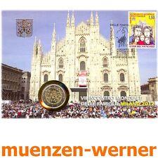 Numisbrief vaticano 2012 con 2 euros moneda mundo reunión familiar milán moneda especial