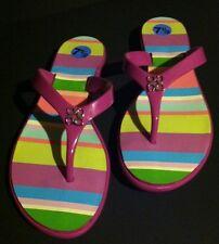 Coach Sandals Trixie Hamptons Stripe Magenta Thongs Flip Flops Size 7 1/2