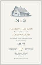 30 50 80 100 130 Country Farm Barn 3 Colors Wedding Invitation 6x9