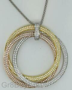 PENDANT: TRI-COLOUR GOLD RHODIUM CIRCLES/HOOPS LARGE with PAVE CZ