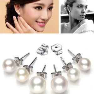 Freshwater Pearl Stud Earrings 925 Sterling Silver - 3 Sizes Studs