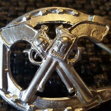 "Vtg CROSSED PISTOLS on LUCKY HORSESHOE Old West BELT BUCKLE -Fits up to 1"" Belts"