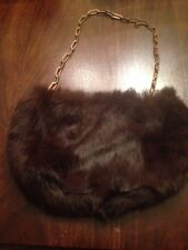 Small Brown Fur Purse With Chain Strap