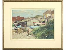 Swanage, Dorset by John Hammond Harwood - original signed painting. Boats