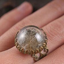 Dandelion seed filigree handmade ring adjustable antique brass statement nature