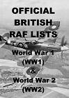 WORLD WAR 1 & 2 OFFICIAL BRITISH RAF LISTS - 75 BOOKS ON 2 DVDs - WW1 WW2 MEDAL