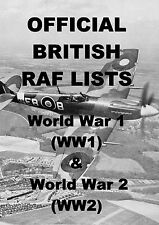 BRITISH RAF LISTS WORLD WAR 1 & 2 - 75 BOOKS ON 2 DVDs - WW1 WW2 MEDAL RESEARCH