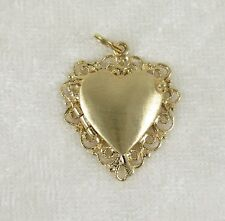 3D 14K Yellow Gold Heart Locket Charm Pendant 4.8g 1-1/4in Hinged Cover Filigree