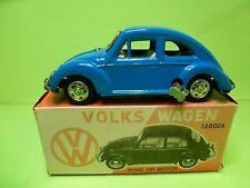 JAPAN TIN TOYS BLECH VW VOLKSWAGEN BEETLE 1200DX - BLUE L18.5cm - WIND UP MOTOR