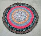 "Vintage Primitive Braided Fabric Rag Rug - Folk Art Farmhouse  34"" D"