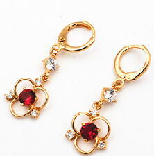 Pretty 14K Plating Gold Filled Red ruby Clear White CZ Earrings eh-002