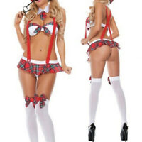 Women&acutes School Girl Uniform Costume Sexy Lingerie Halter Suspender Cosp nx
