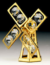 """SWAROVSKI CRYSTAL ELEMENTS """"Windmill"""" FIGURINE - ORNAMENT 24KT GOLD PLATED"""