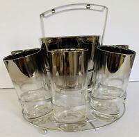 Vintage Mid Century Atomic Glassware Barware Ice Bucket Mad Men Silver Fade