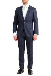 "Hugo Boss Men's ""Huge6/Genius5"" Slim Fit Blue Wool Silk Linen Two Button Suit"