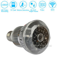 HD 1080P WiFi Wireless Hidden Spy Bulb Light CCTV IP Network Camera Night Vision