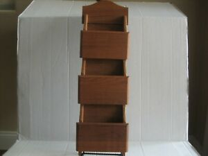 "Vintage Goodwood TEAK Wood Mail Letter Holder Three Tier 22"" x 7"""