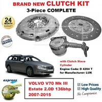 FOR VOLVO V70 Mk III Estate 2.0D 136bhp 2007-2015 BRAND NEW 3PC CLUTCH KIT + CSC