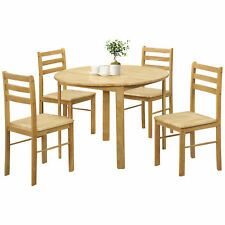 Natural Oak Finish Round Dining Table and Chair Set with 4 Seats