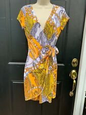 NWT  Cache Dress Size M Summer Print Boho Retro Wrap New 138