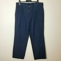 "Marks & Spencer Blue Harbour Men's Blue Chino  Trousers 38""W 29""L Pleated Front."