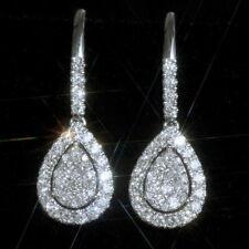 2.1Ct Natural Diamond 10K White Gold Cluster Engagement Earrings EWG109-10-2