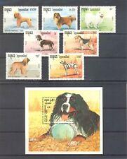 CAMBODIA 1990 DOGS --SET + BLOCK -** MNH VF