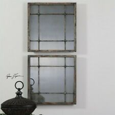 Uttermost Saragano Square Mirrors in Distressed Slate Blue (Set of 2)