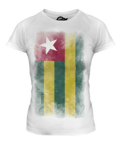 TOGO FADED FLAG LADIES T-SHIRT TEE TOP TOGOLESE SHIRT FOOTBALL JERSEY GIFT