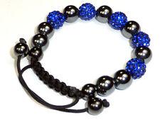 Shambhala Armband, dkl. Blau, mit natürl. Magneten, Schambala, 10mm Echt-Ton