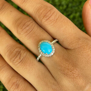 .925 Sterling Silver Oval Turquoise Halo Ring, Engagement ring, Gift For Her