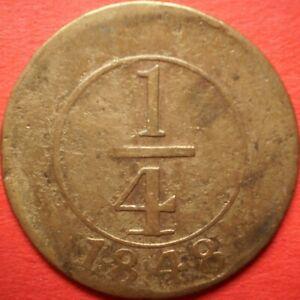 DOMINICAN REPUBLIC ¼ REAL 1848 Plain 4 Dominicana Dominikanische Dominicaine Dom