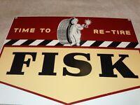 "VINTAGE TIME TO RE-TIRE FISK TIRES YAWNING BOY 13"" PORCELAIN METAL GAS OIL SIGN!"