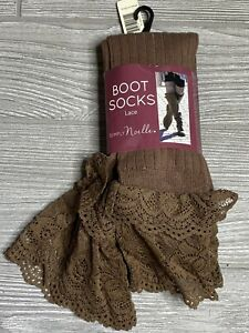 NEW! Simply Noelle Lace Boot Socks, Brown, One Size
